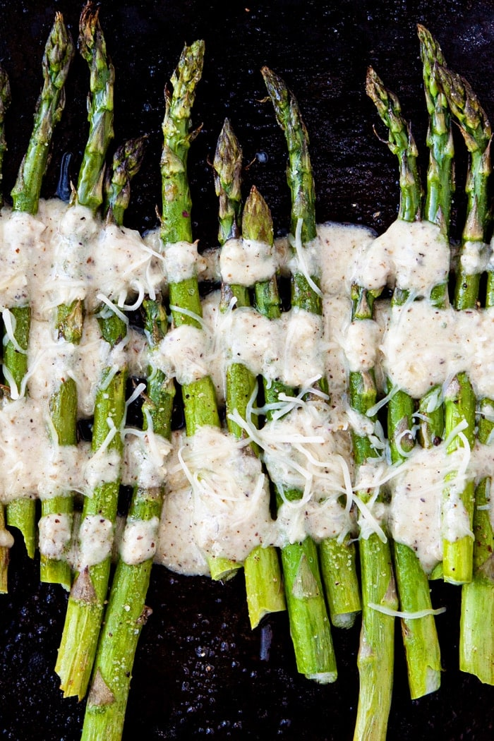 Oven Roasted Asparagus with Lemon Walnut Dressing