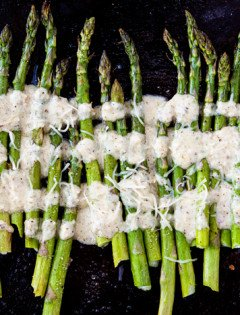 Roasted Asparagus with Lemon Walnut Dressing