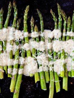 Roasted Asparagus with Lemon Walnut Dressing