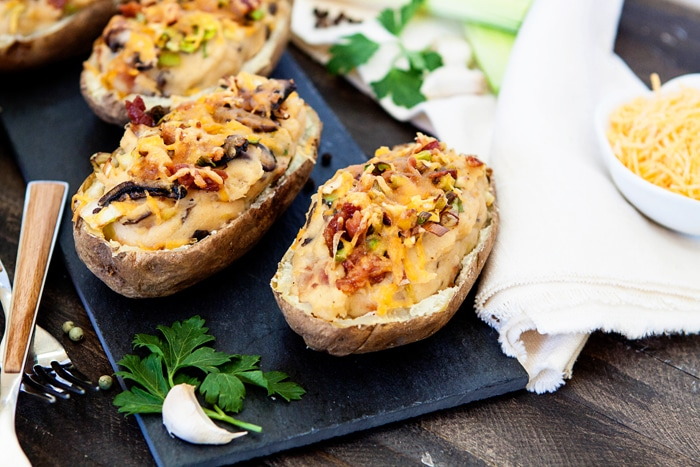 Roasted Cauliflower Bacon Leek Mushroom Twice Baked Potatoes