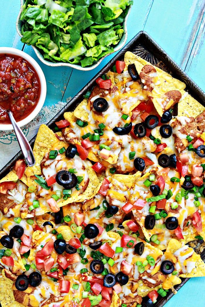 loaded nachos on baking tray