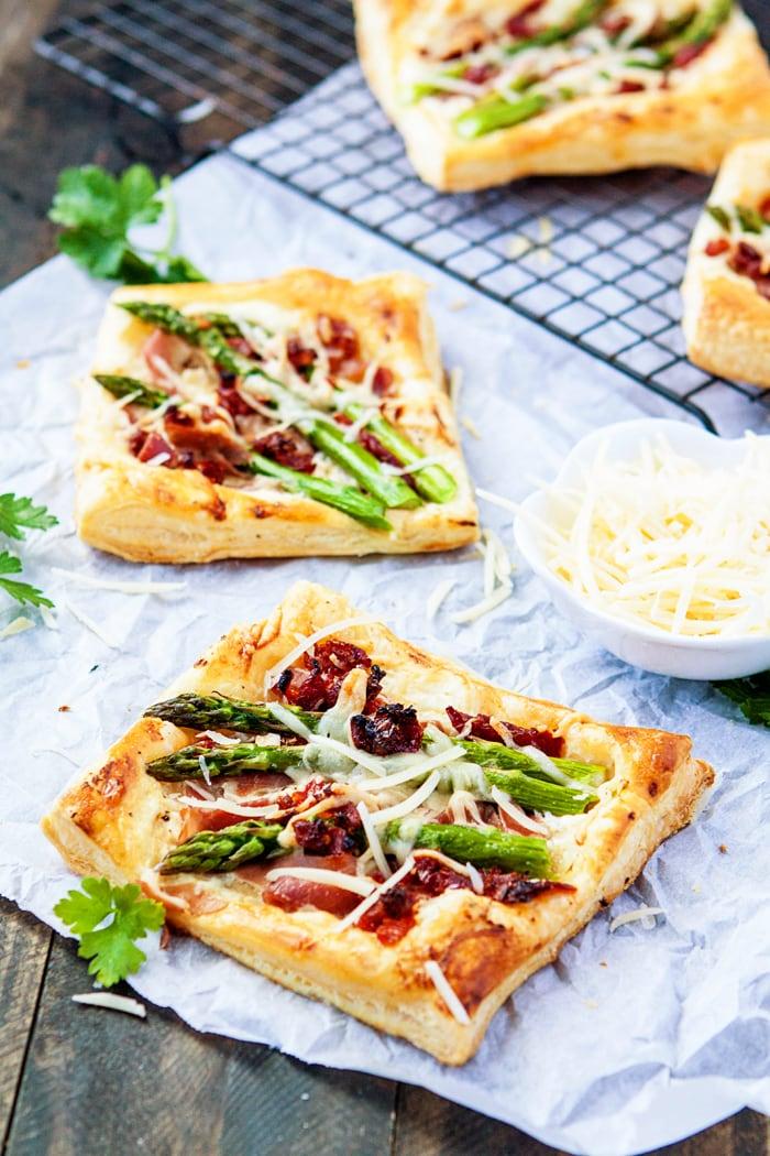 Asparagus Prosciutto Puff Pastry Pizzas