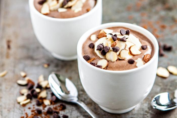 Chocolate banana almond milk smoothies