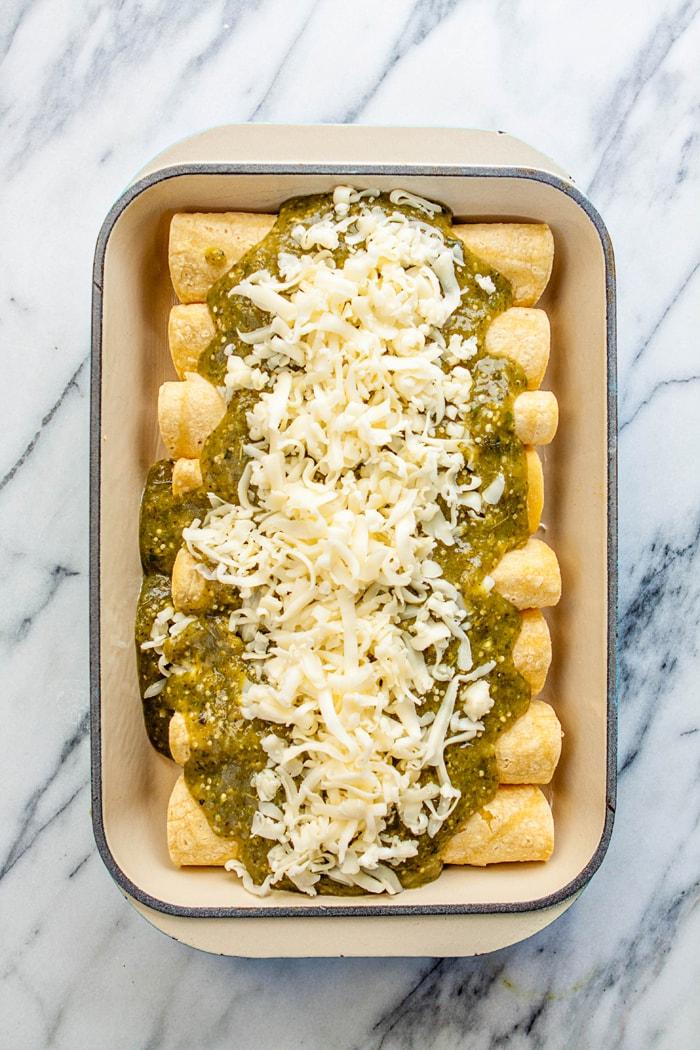 Chorizo Spinach Breakfast Enchiladas