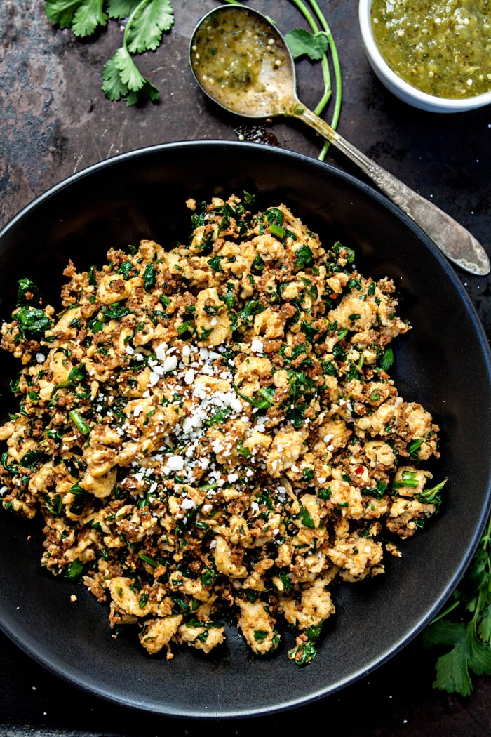 Chorizo Spinach Egg Scramble