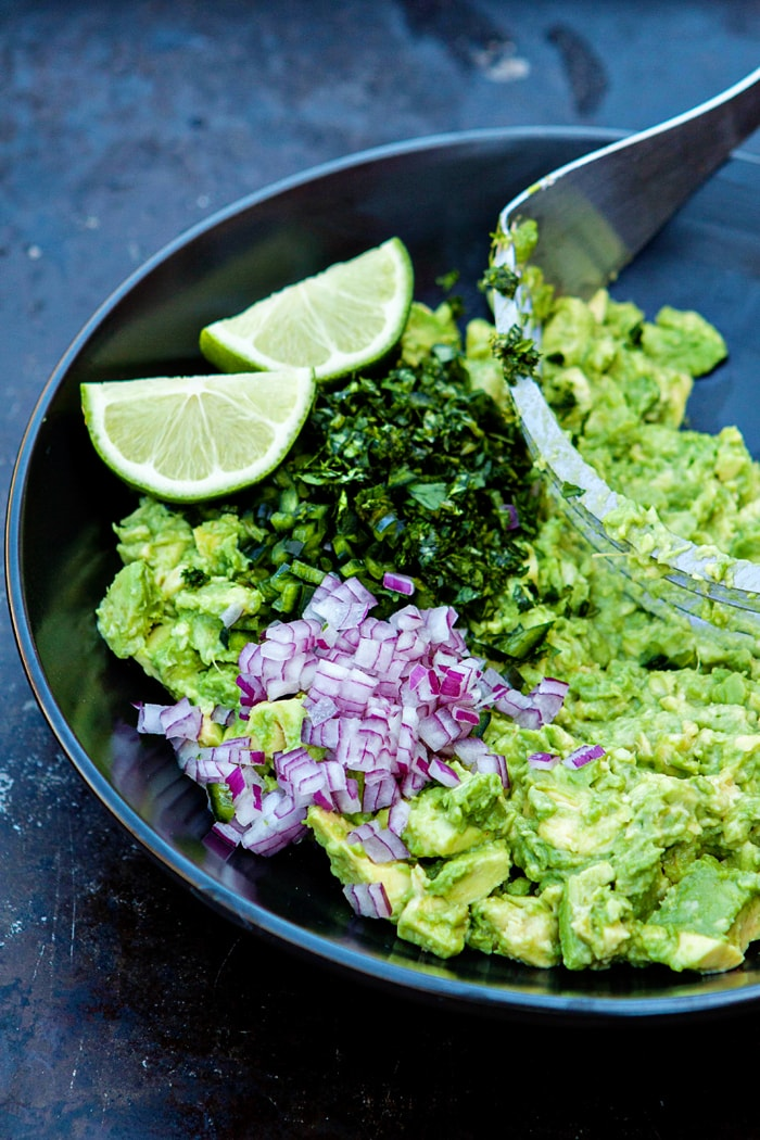 basic guacamole ingredients in bowl