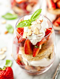 Basil Balsamic Strawberry Shortcake Parfaits
