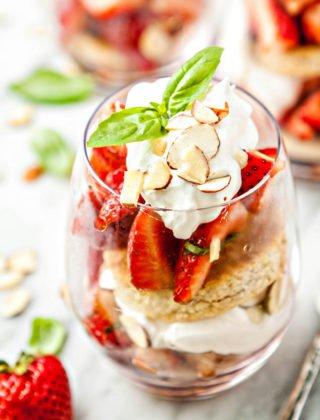 Basil Balsamic Strawberry Shortcake Parfaits