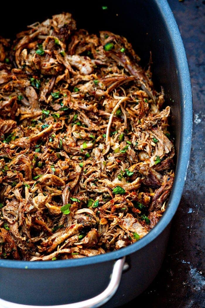 easy crockpot pulled pork in large serving dish