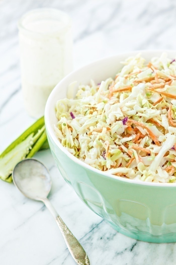 Your typical BBQ Coleslaw gets a makeover with the addition of jalapeño for just a touch of heat for your tastebuds!