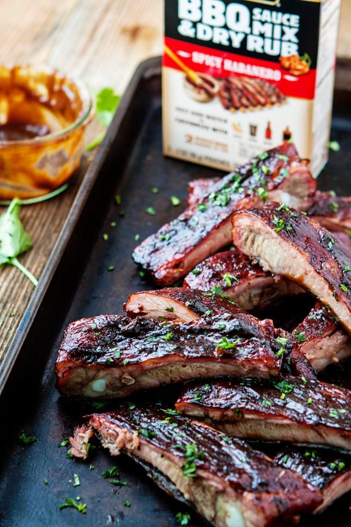 Pork Ribs with Mango Habanero BBQ Sauce
