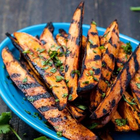 Smokey Grilled Sweet Potato Wedges