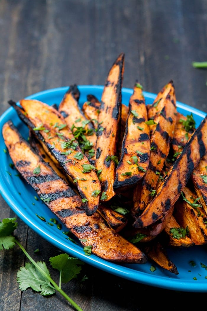 Grilled Sweet Potato Fries on blue plate