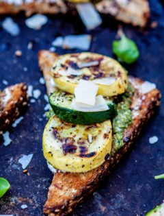 Pesto Goat Cheese Crostini