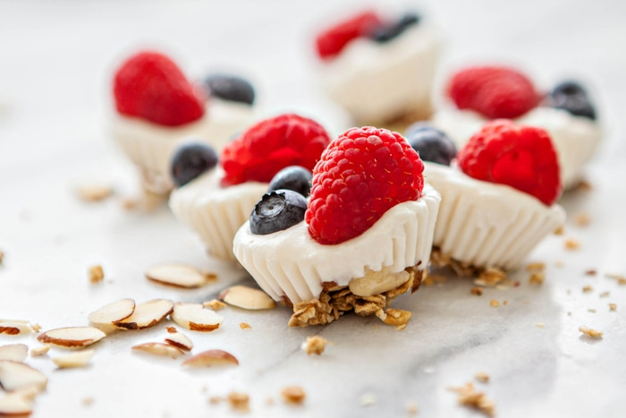 Red, White, and Blue Berry Almond Frozen Yogurt Bites