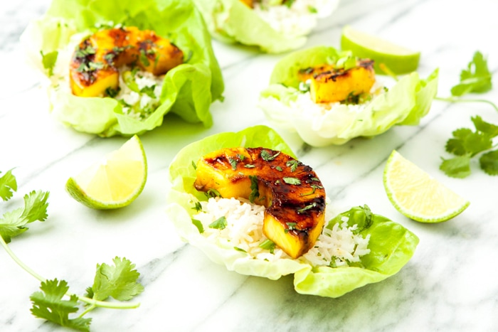 Brown Sugar Lime Grilled Pineapple Lettuce Cups Photo