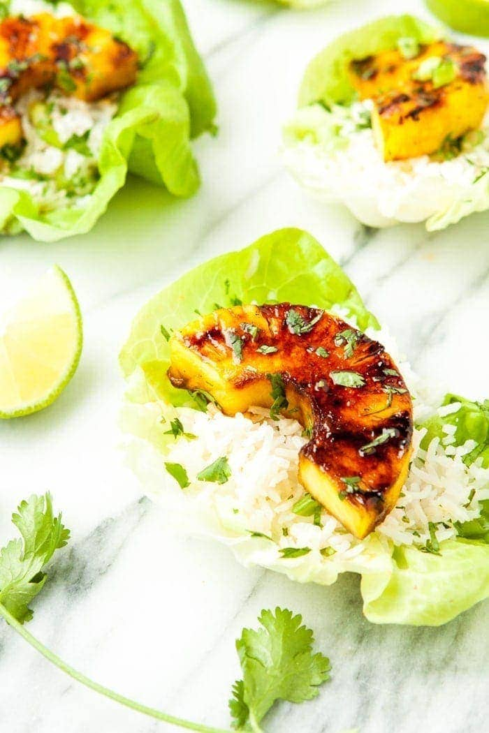 Brown Sugar Lime Grilled Pineapple Lettuce Cups Recipe