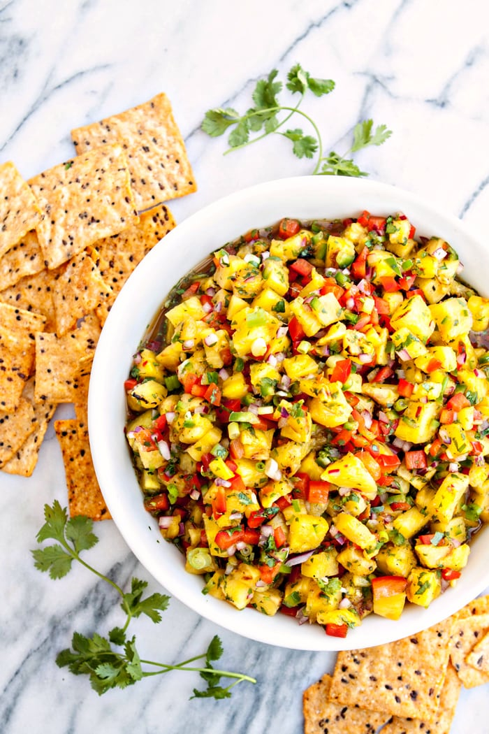 Grilled Pineapple Salsa - Grilled Chicken Walking Tacos