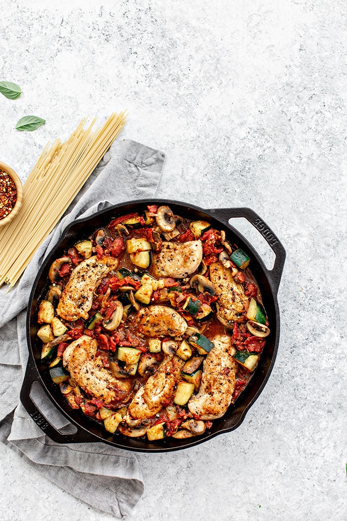 cast iron skillet with chicken