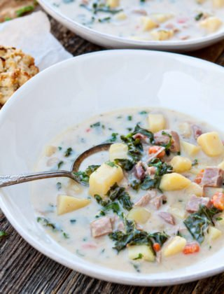 Slow Cooker Ham Soup with Potatoes and Kale - Hambone Soup Recipe