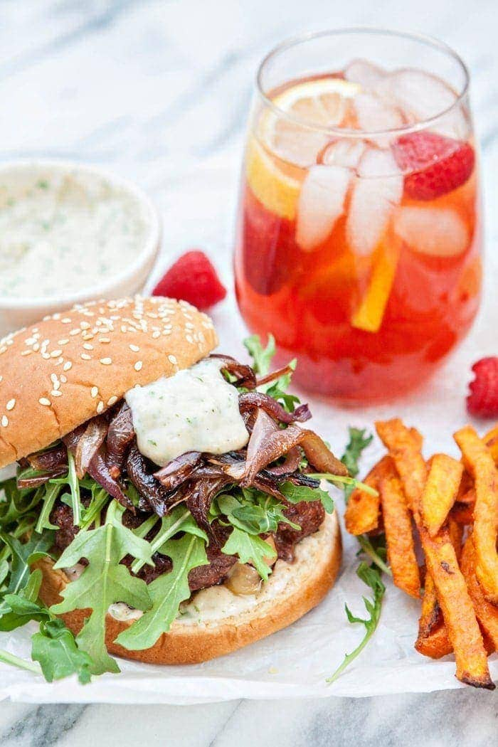 Gouda Stuffed Burgers with Horseradish Aioli and Caramelized Onions | Gouda Stuffed Burgers with Horseradish Aioli and Caramelized Onions are the perfect burger to transition dinner time from summer favorites to hearty, fall family meals.