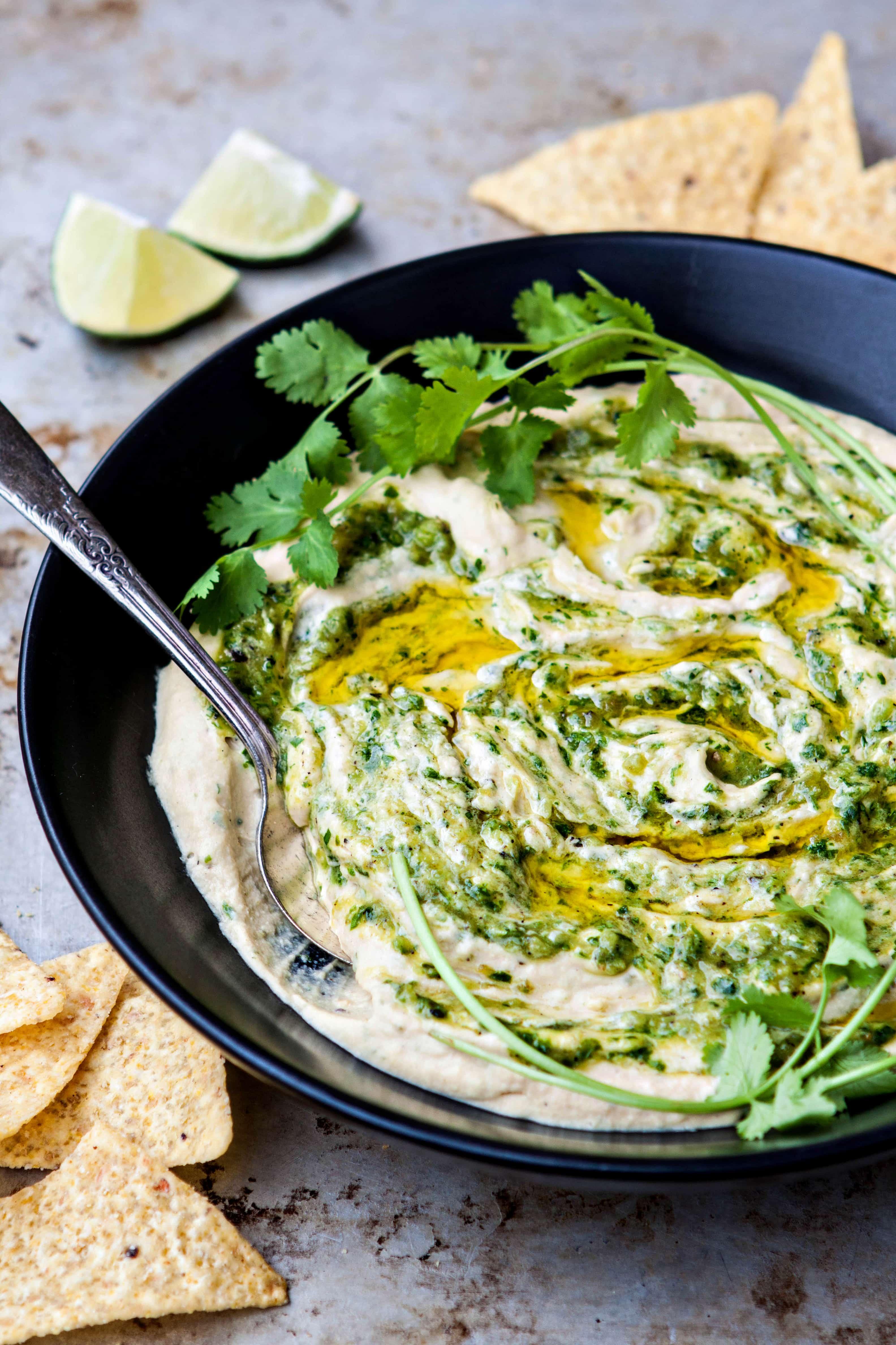 Roasted Salsa Verde Hummus Recipe