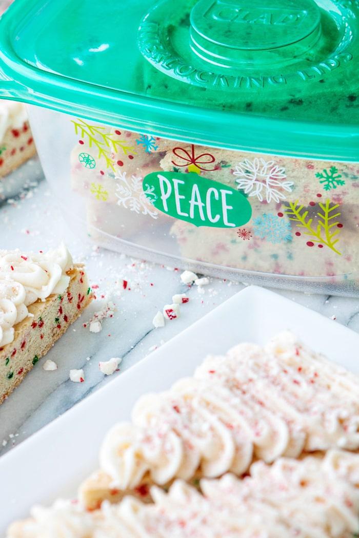 Candy Cane Crunch Funfetti Sugar Cookie Bars