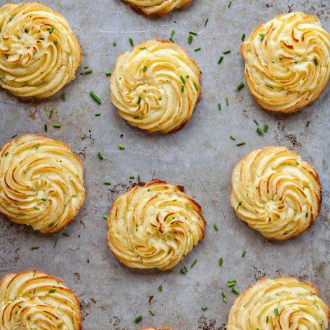Cream Cheese Chive Duchess Potatoes