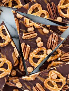 Dark Chocolate Turtle Pretzel Bark