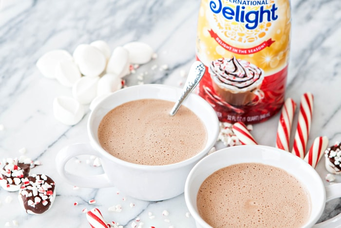 two mugs of spiked hot chocolate
