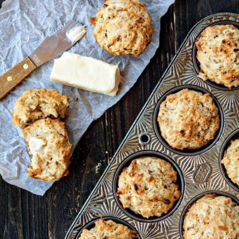 Beer Batter Muffins with Caramelized Onions and Parmesan
