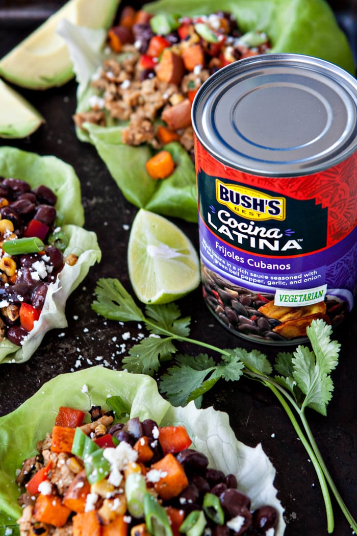 Black Bean, Sweet Potato and Chicken Taco Lettuce Wraps