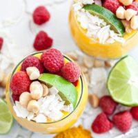Coconut Chia Pudding Parfaits with Tropical Fruit Turmeric Puree