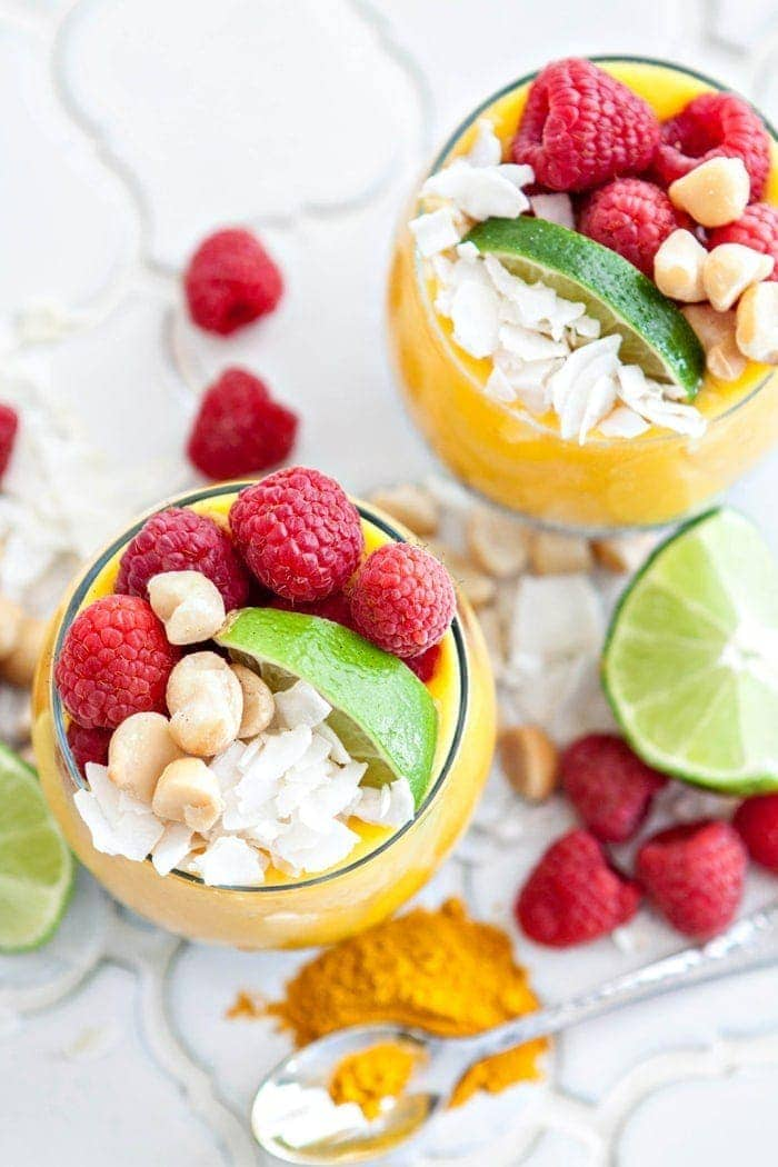 two coconut milk chia pudding parfaits