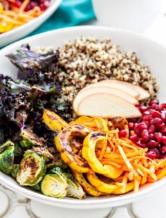 Rainbow Winter Quinoa Bowls with Maple Dijon Balsamic Dressing