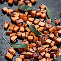 Roasted Sweet Potatoes with Garlic and Sage