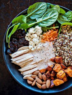 Winter Spinach Chicken Salad Quinoa Bowl with Creamy Almond White Balsamic Dressing