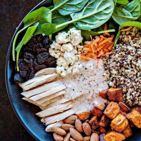 Winter Spinach Chicken Salad Quinoa Bowl with Creamy Almond White Balsamic Dressing