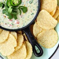 Queso Blanco with Roasted Corn, Kale, and Tomatoes