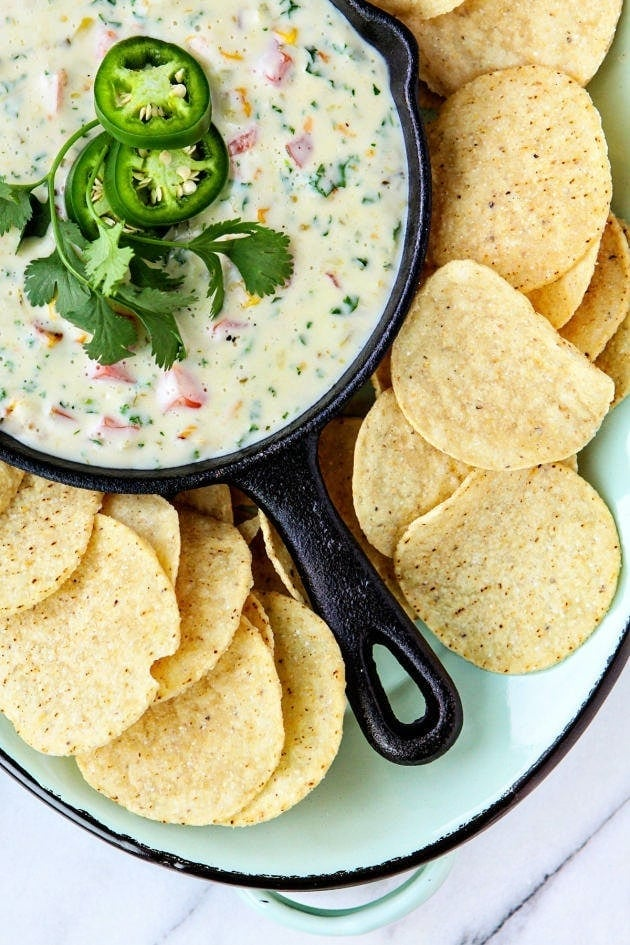 Queso Blanco Dip with Roasted Corn, Kale, and Tomatoes
