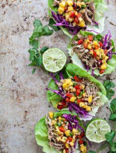 Slow Cooker Pork Carnitas Lettuce Wraps with Mango Salsa photo