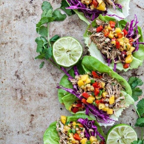 Slow Cooker Pork Carnitas Lettuce Wraps with Mango Salsa