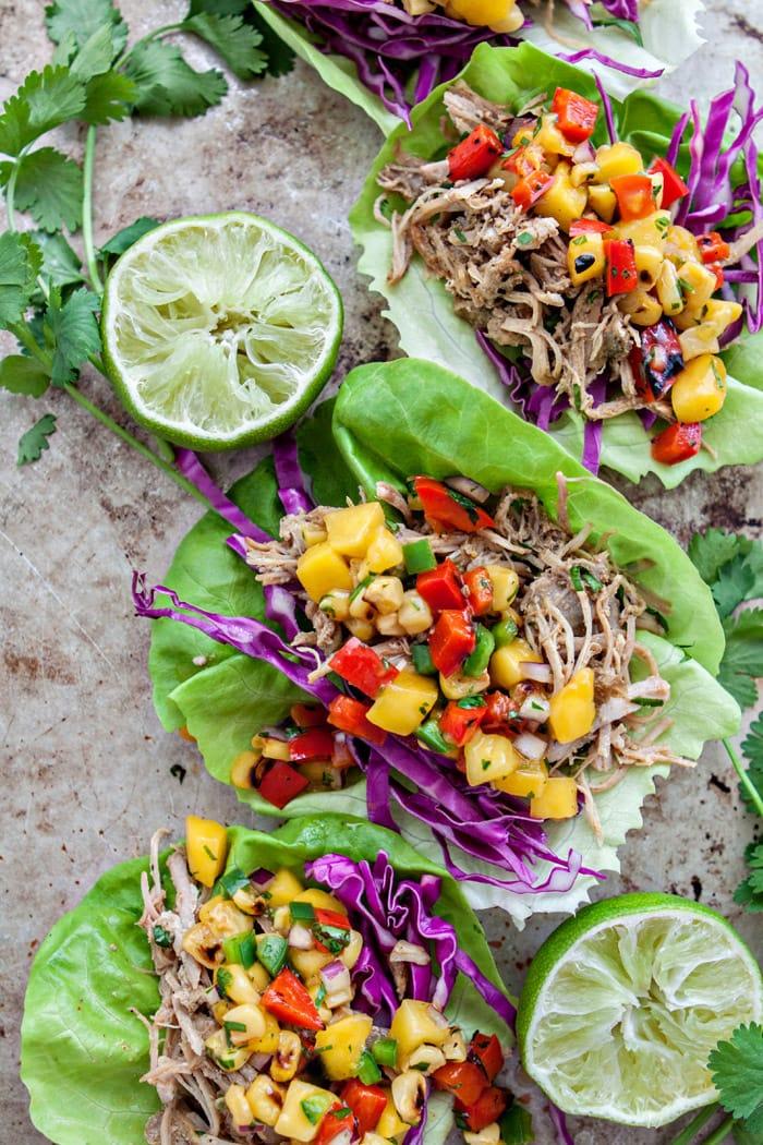 Slow Cooker Pork Carnitas Lettuce Wraps with Mango Salsa picture