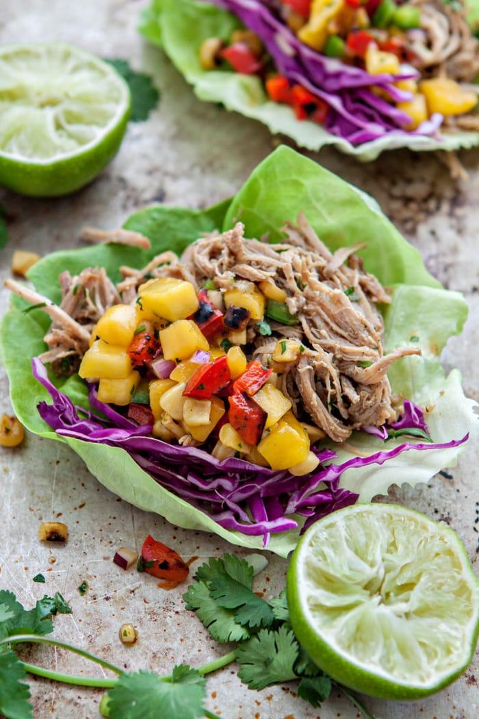 Slow Cooker Pork Carnitas Lettuce Wraps with Mango Salsa photos