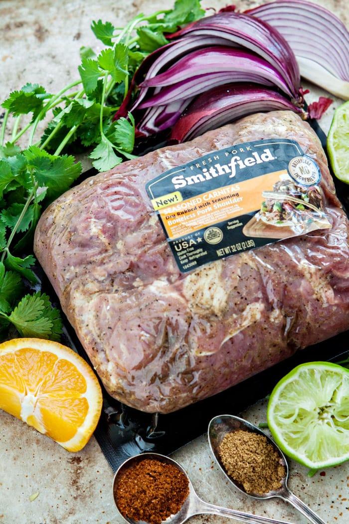 Slow Cooker Pork Carnitas Lettuce Wraps with Mango Salsa image