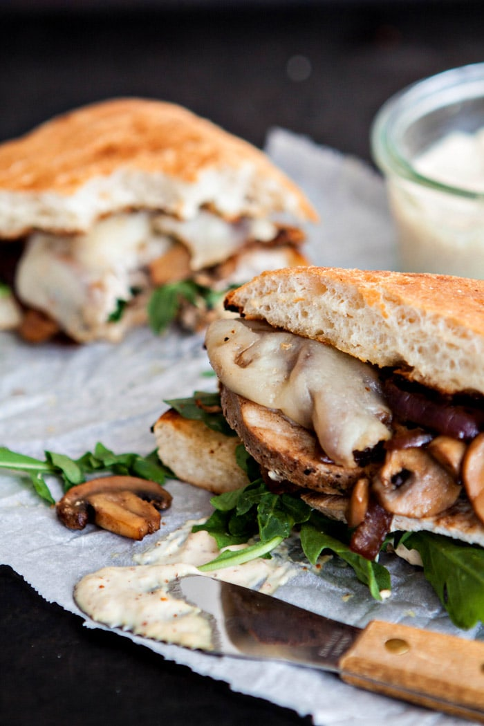 Roasted Pork Loin Sandwich with Caramelized Onions and Mushrooms
