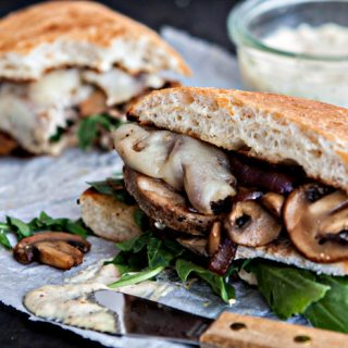 Roasted Pork Sandwich with Caramelized Onions and Mushrooms