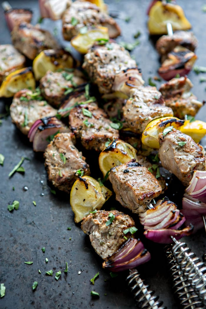 Greek Pork Kebab Platter with Greek Pico de Gallo