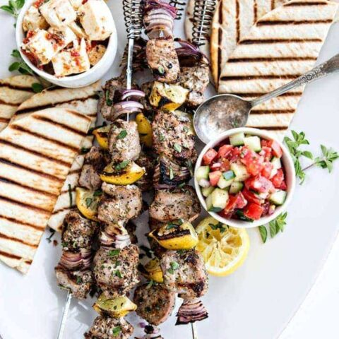 Greek Pork Kebab Platter with Greek Pico de Gallo
