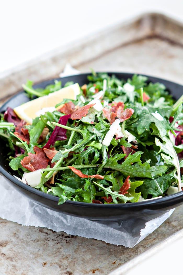 Italian Mixed Greens Salad with Prosciutto and Lemon Dijion Vinaigrette photo